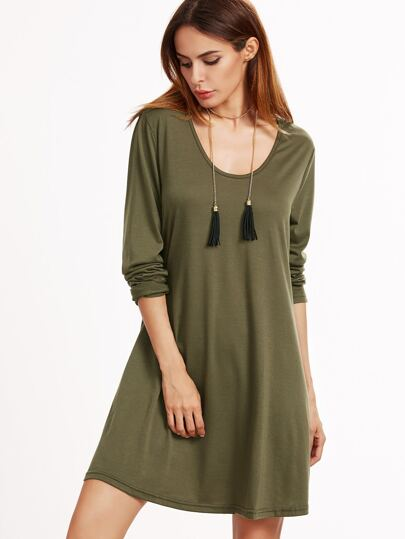 Army Green Scoop Neck Tee Dress