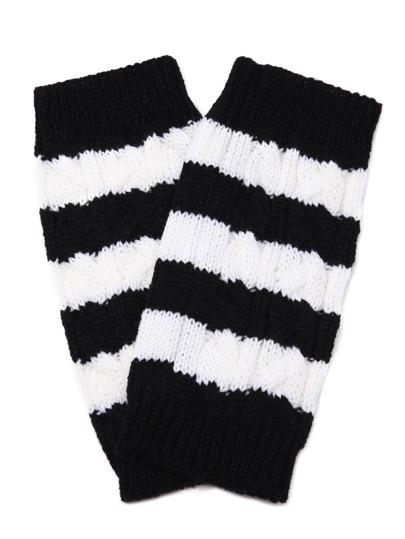 Black And White Stripe Knit Thermal Long Fingerless Gloves