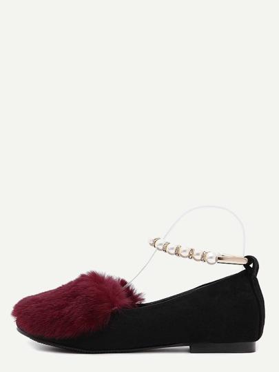 Chaussures plates en poil de lapin avec perle - rouge