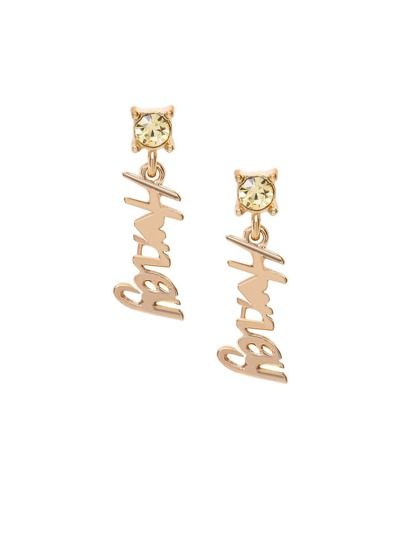 Gold Letter Pendant Rhinestone Drop Earrings