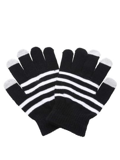 Guantes de rayas - negro blanco