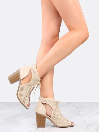 Mesh Cut Out Ankle Booties BEIGE