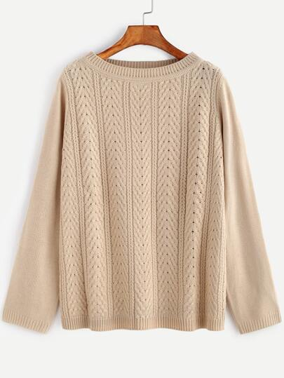 Apricot Cable Knit Round Neck Loose Sweater