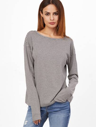 Grey Striped Drop Shoulder Cutout Back T-shirt
