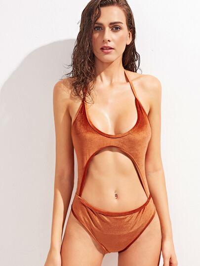 Orange Plain Halter Neck Cutout One Piece Swimwear