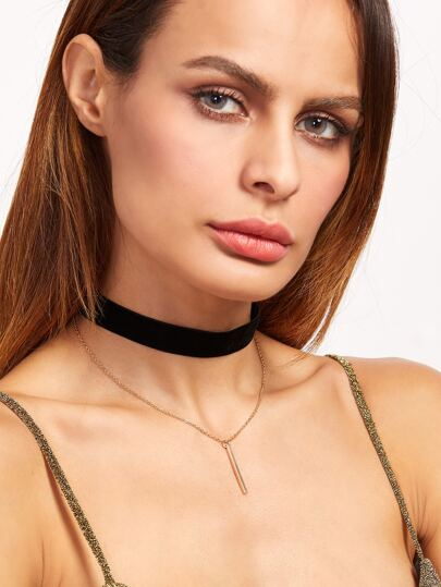 Layered Golden Bar Pendant Velvet Choker Necklace