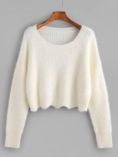 White Scoop Neck Drop Shoulder Crop Fluffy Sweater