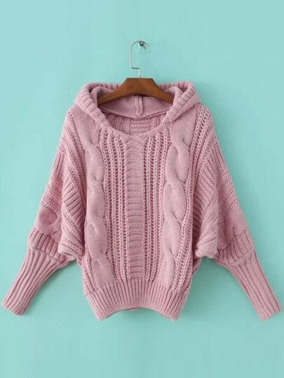 Pink Cable Knit Hooded Sweater