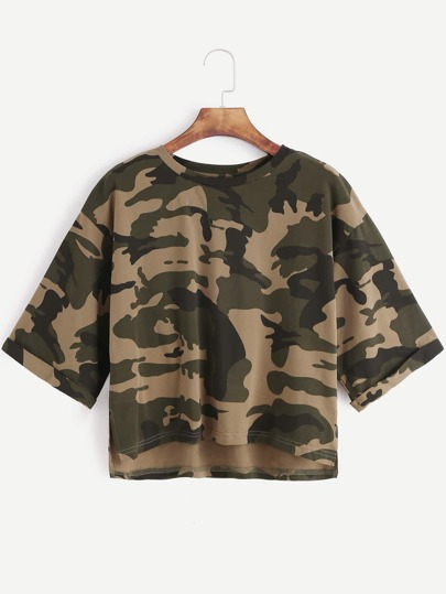 Olive Green Camo Print High Low Crop T-shirt