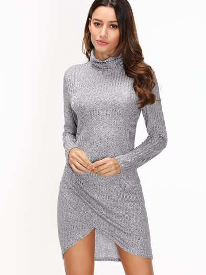 Grey Ribbed High Neck Dip Hem Dress