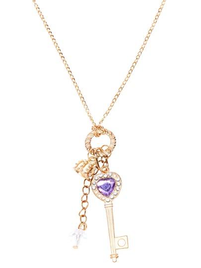 Gold Rhinestone Charm Pendant Necklace