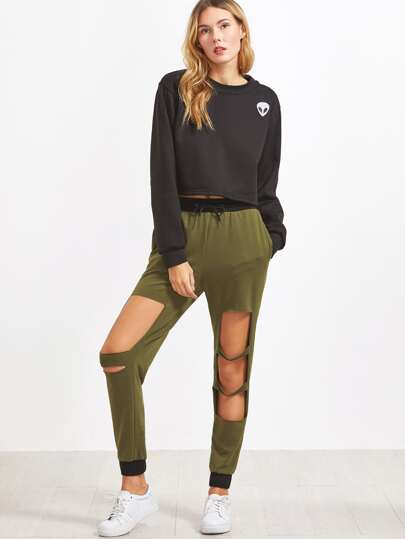 Olive Green Contrast Trim Cutout Sweatpants