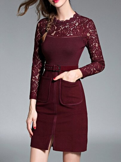 Burgundy Contrast Lace Belted Sheath Dress