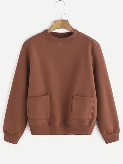 Dual Pocket Front Long Sleeve Sweatshirt