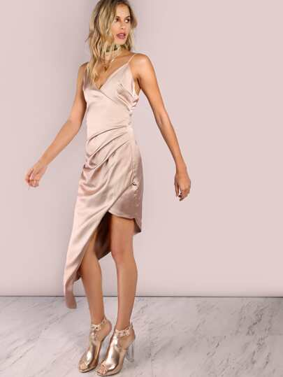 Low Back Ruched Asymmetrical Dress CHAMPAGNE