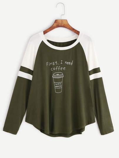 T-shirt mit Streifen Raglan Ärmel Kontrast Kaffee Druck