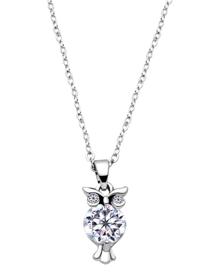 Silver Plated Rhinestone Owl Pendant Necklace