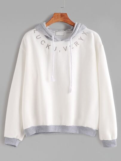 Contrast Trim Hooded Letter Embroidered Sweatshirt