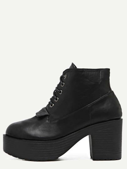 Black Lace Up Round Toe PU Platform Ankle Boots