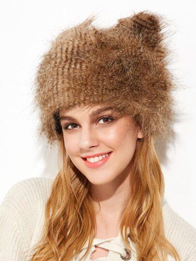 Brown Faux Fur Cute Ear Fluffy Winter Hat