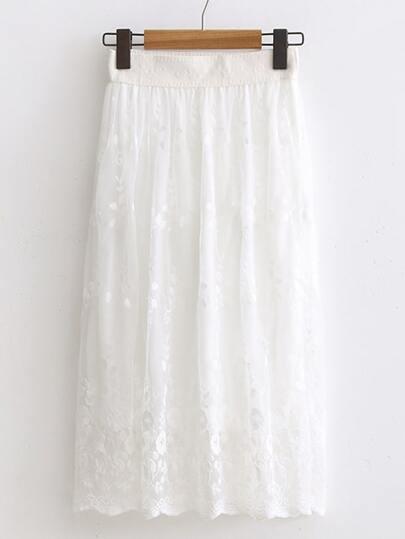 белая кружевная юбка с эластичной  талией