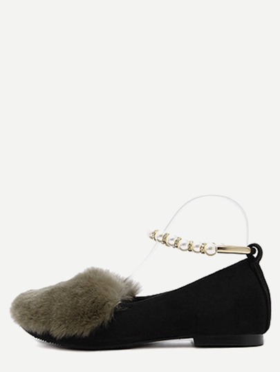 Green Rabbit Hair Embellished Pearl Strap Flats