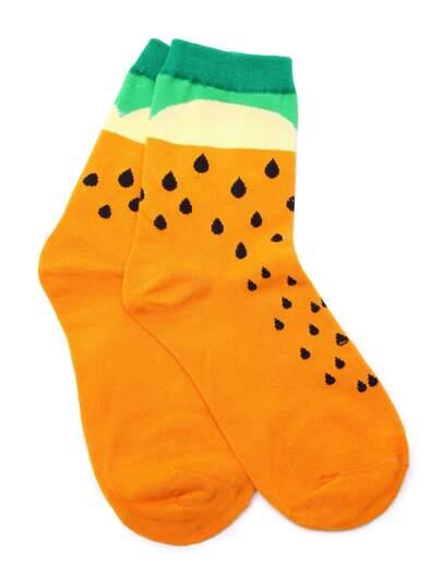 Orange Waterdrop Print Crew Sock