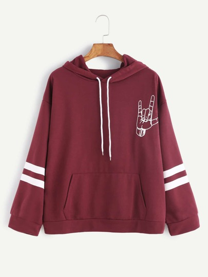 Burgundy Gesture Print Varsity Striped Hooded Sweatshirt