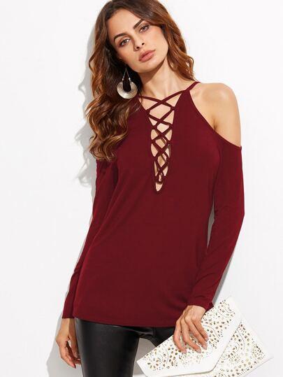 Burgundy Lace Up Plunge Neck Cold Shoulder T-shirt