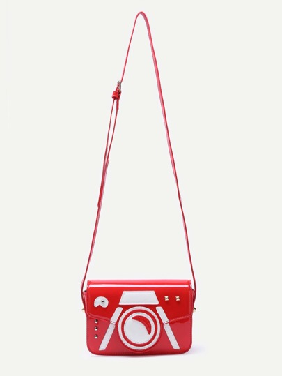 Red Patent Leather Camera Design Flap Crossbody Bag