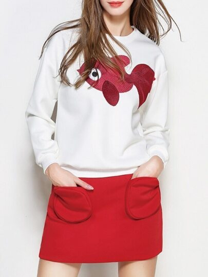 White Fish Embroidered Top With Pockets Skirt