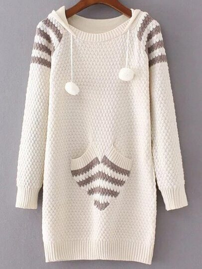 Beige Ribbed Trim Hooded Long Sweater With Pocket