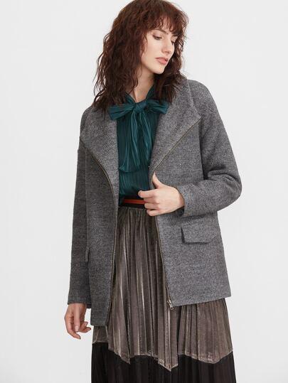 Veste tricoté marné col drapé avec zip - gris