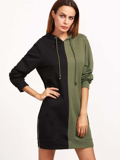 Contrast Zip Slit Side Hoodie Dress