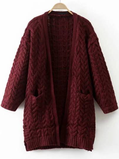 Burgundy Cable Knit Side Slit Sweater Coat With Pocket