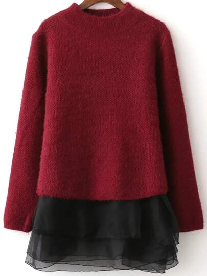 Burgundy Crew Neck Sweater With Layered Tank Dress