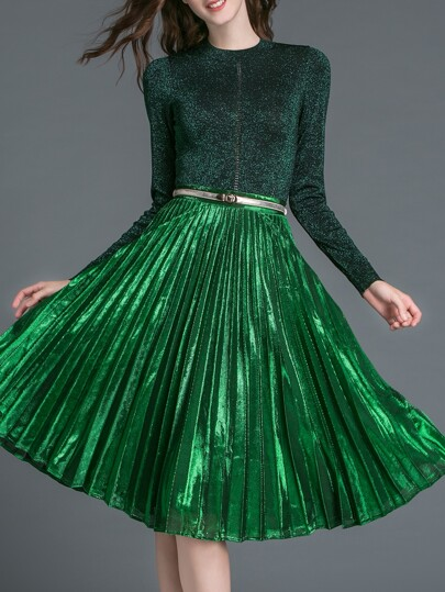 Green Pleated Velvet Belted Top With Skirt