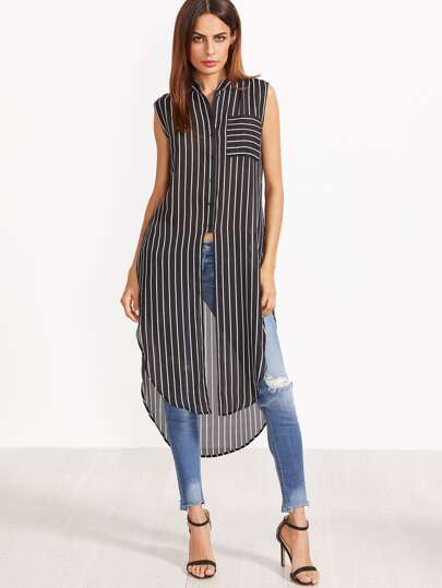Contrast Striped Curved Hem Longline Sleeveless Blouse
