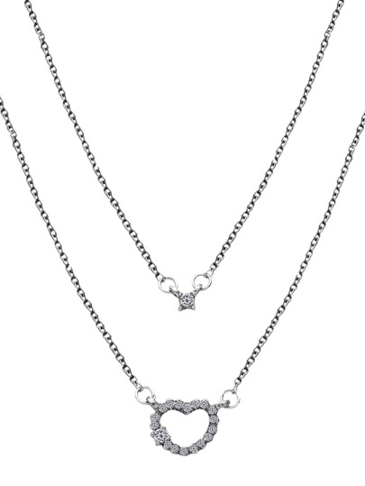 Silver Double Layer Heart Rhinestone Pendant Necklace