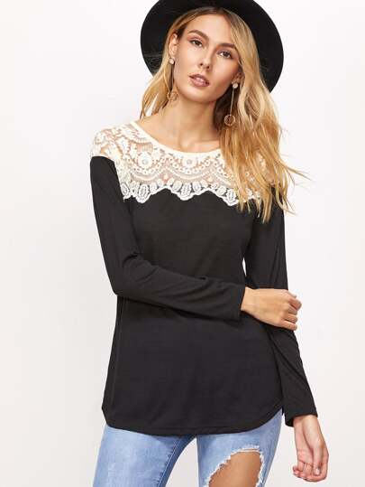 Contrast Lace Trim T-shirt