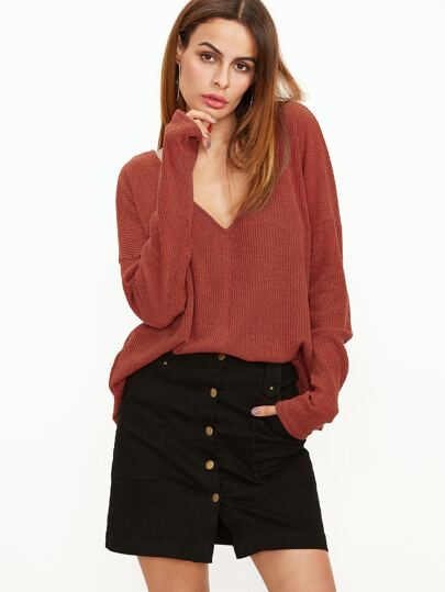 Brick Red Ribbed Knit Double V Neck Drop Shoulder T-shirt