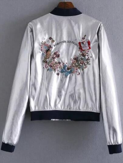 Jacke mit Schmetterling Stickerieen Kontrast Saum-silber