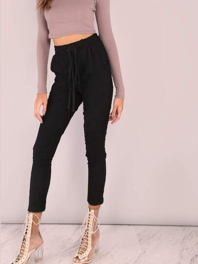 Distressed Skinny Sweatpants BLACK