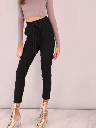 Distressed Skinny Sweatpants BLACK
