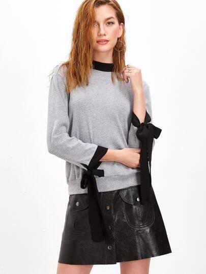 Heather Grey Contrast Bow Tie Detail Sweatshirt
