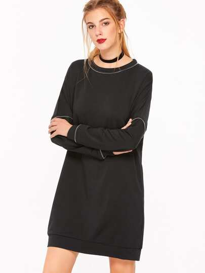 Black Drop Shoulder Sweatshirt Dress With Zip Detail