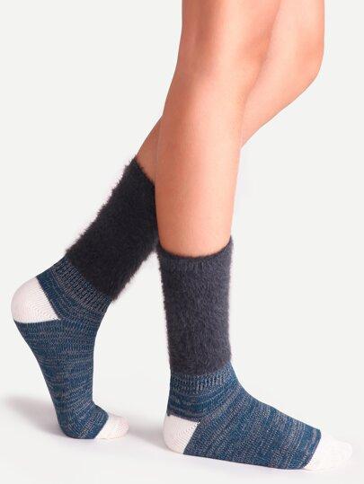 Dark Grey Fluffy Cuff Contrast Slouch Socks