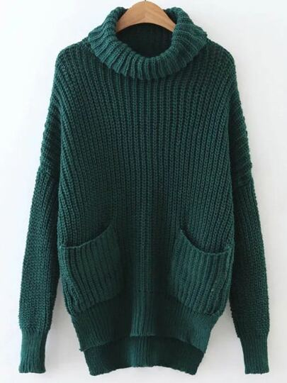 Dark Green Turtleneck High Low Sweater With Pocket