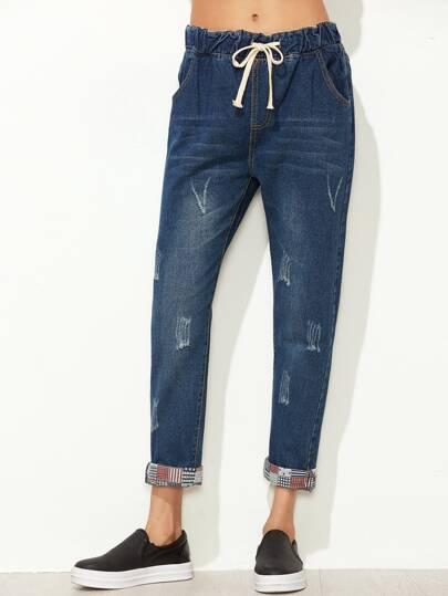 Pantalons en denim avec lacet - bleu