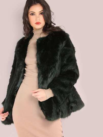 Black And Green Faux Fur Coat
